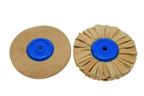 Polirapid-Schwabbel, mit konischem Kunststoffkern + Chamoisleder